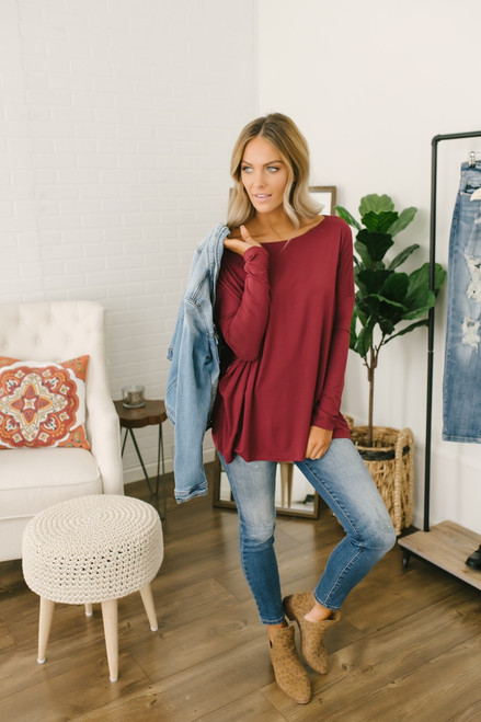 Solid Knit Piko - Burgundy - FINAL SALE