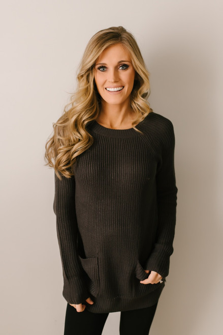 Park City Pocket Tunic Sweater - Dark Charcoal  - FINAL SALE