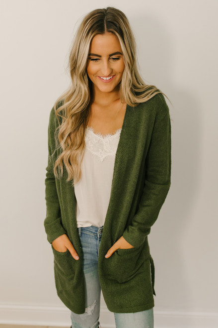 Acadia Park Soft Knit Pocket Cardigan - Olive
