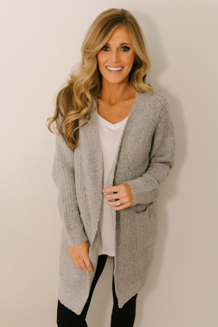 Leona Flecked Pocket Cardigan - Light Grey