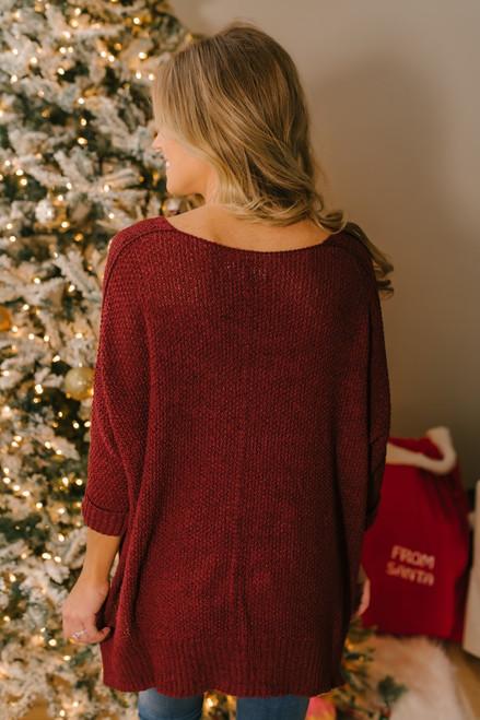 Open Knit High Low Sweater - Burgundy  - FINAL SALE