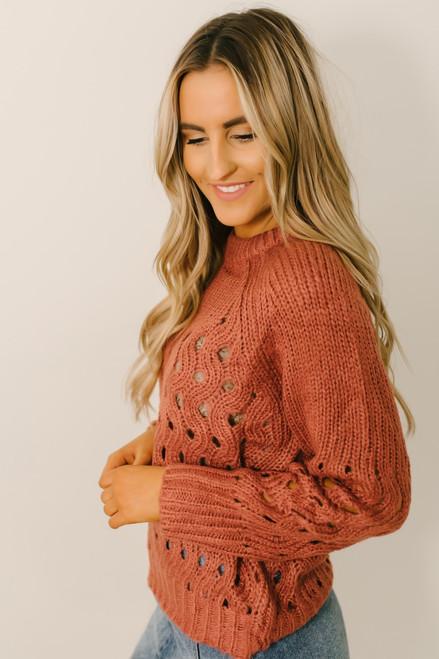 Raise a Glass Open Knit Sweater - Rust - FINAL SALE