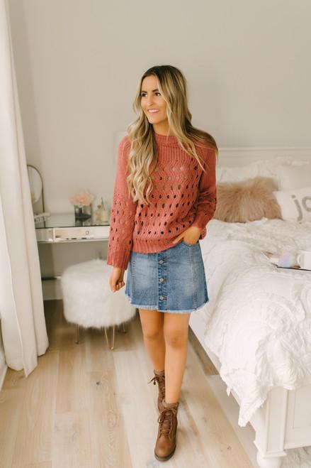 Raise a Glass Open Knit Sweater - Rust