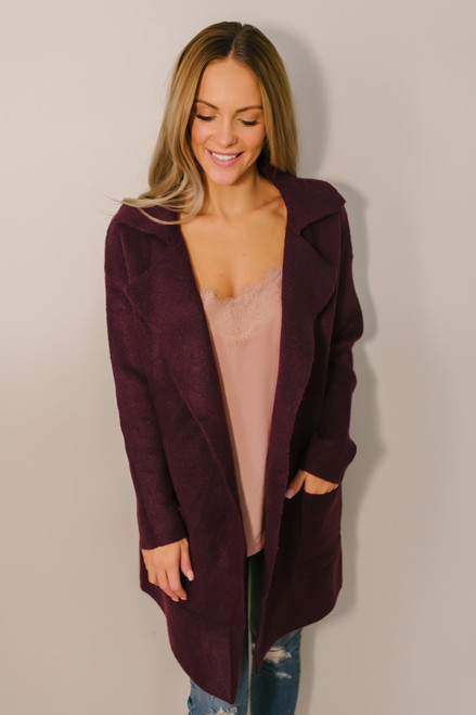 d858512434 Windy City Solid Pocket Cardigan - Burgundy