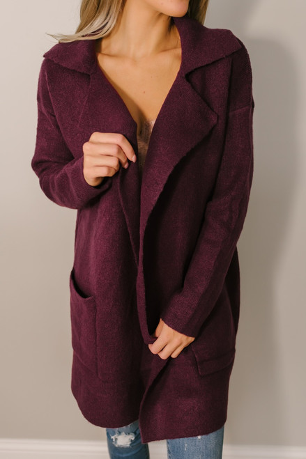 Windy City Solid Pocket Cardigan - Burgundy - FINAL SALE
