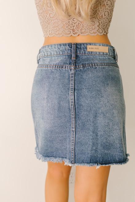 Button Down Frayed Denim Skirt - Medium Wash - FINAL SALE