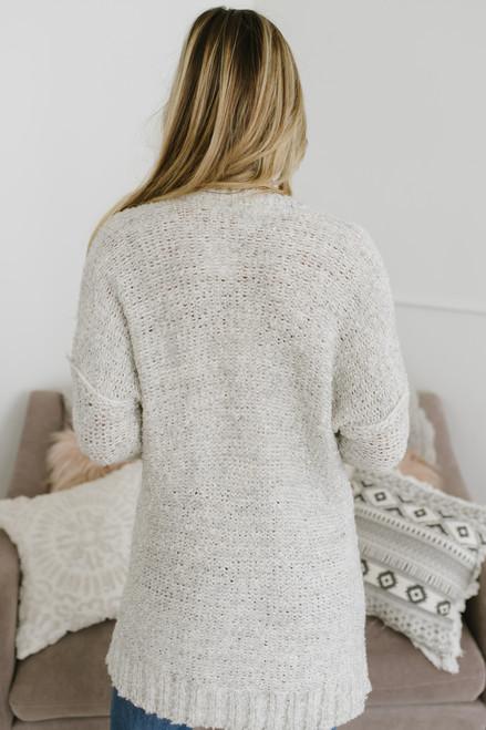 Open Knit Button Down Cardigan - Oatmeal  - FINAL SALE