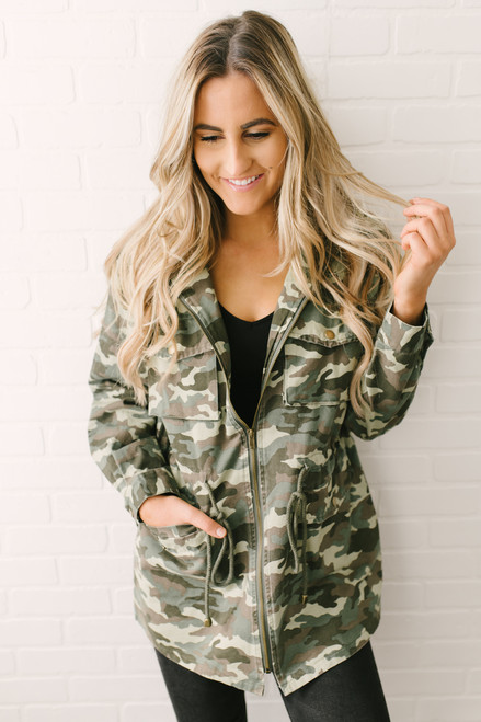 Now or Never Drawstring Cargo Camo Jacket - Olive Multi
