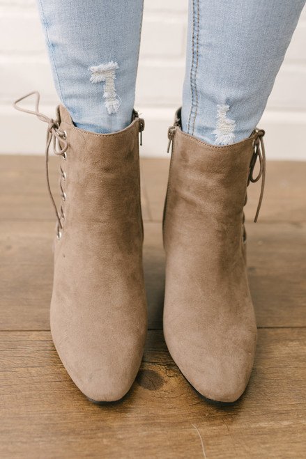 Midtown Faux Suede Lace Up Booties - Taupe - FINAL SALE