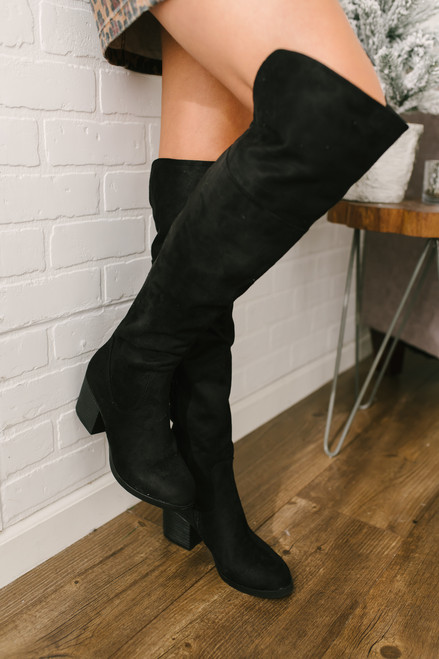 Faux Suede Over the Knee Boots - Black - FINAL SALE