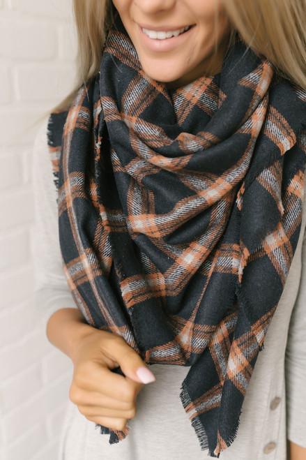Plaid Blanket Scarf - Navy/Orange/Grey - FINAL SALE