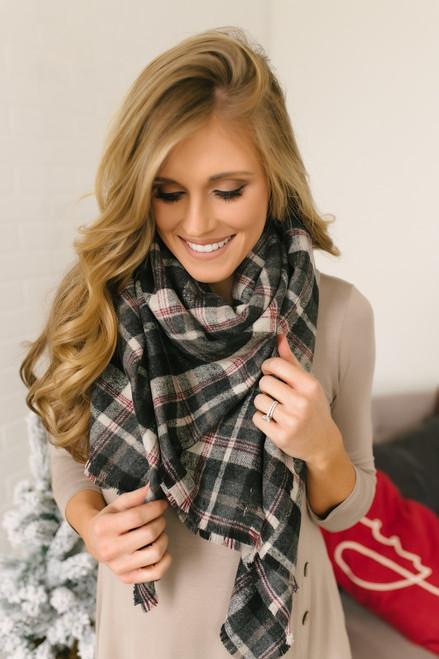 Plaid Blanket Scarf - Black/Grey/Burgundy  - FINAL SALE