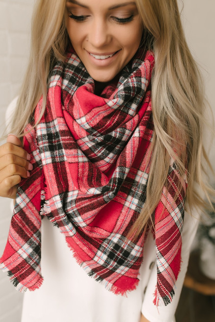 Plaid Blanket Scarf - Red/Black/White  - FINAL SALE