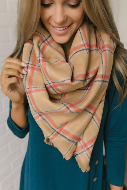 Plaid Blanket Scarf - Camel/Orange/Grey - FINAL SALE