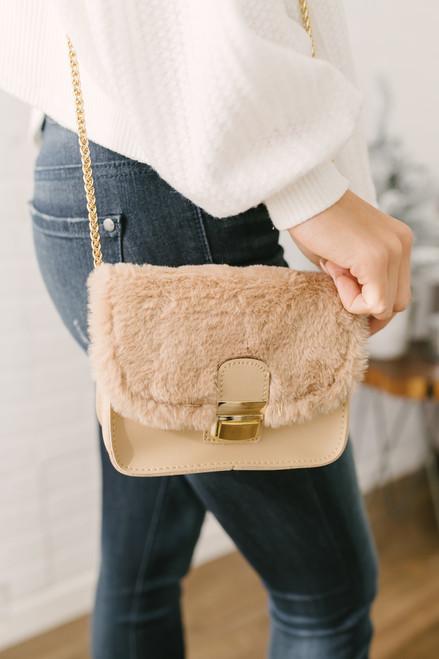 Cinderella Story Faux Fur Crossbody Bag - Beige - FINAL SALE