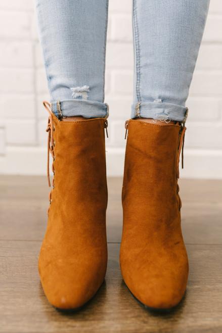 Midtown Faux Suede Lace Up Booties - Chestnut - FINAL SALE