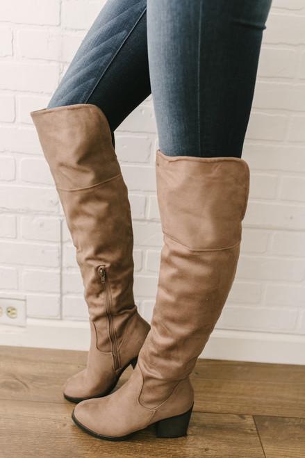 afbf6201faa Faux Suede Over the Knee Boots - Taupe - FINAL SALE