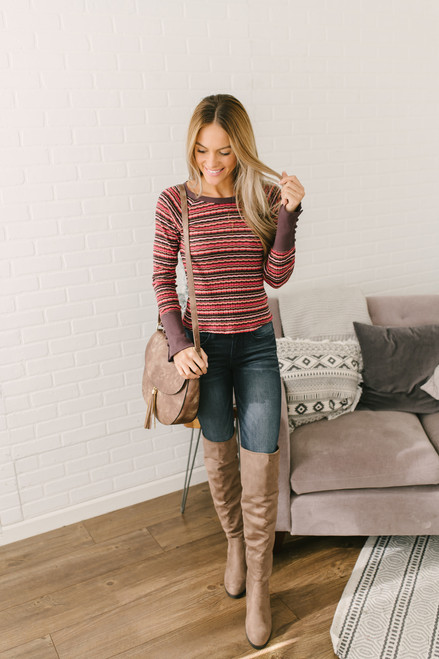 Free People Donna Striped Top - Burgundy Multi