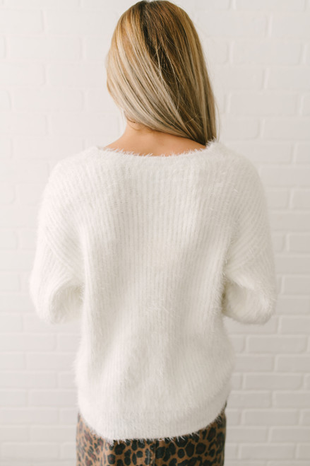 V-Neck Fuzzy Cable Detail Sweater - Ivory