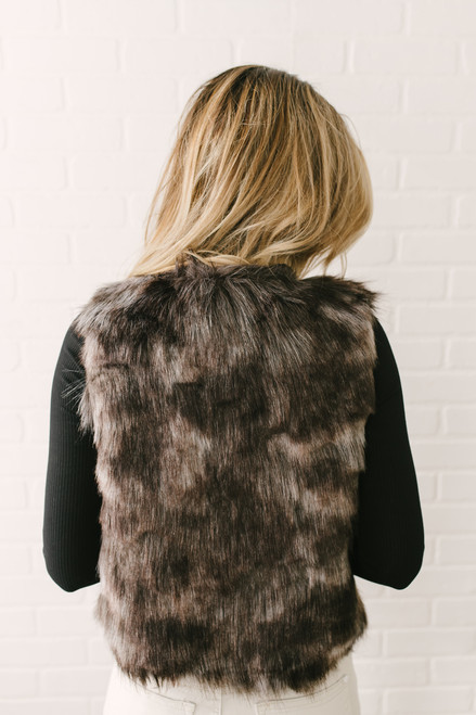 BB Dakota Foxy Lady Faux Fur Vest - Grey Multi - FINAL SALE