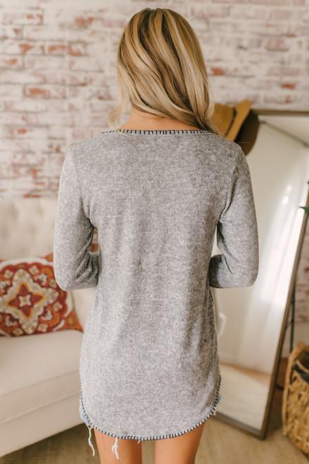Contrast Stitch Pocket Sweater - Heather Grey