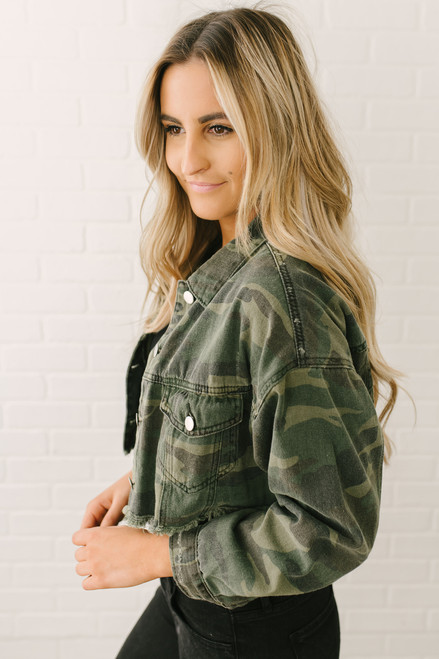 Frayed Camo Cropped Denim Jacket - Olive Multi  - FINAL SALE