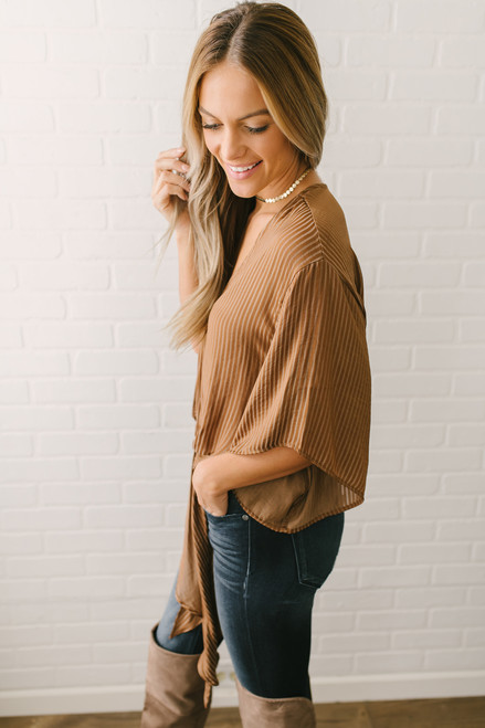 Egyptian Room Striped Knot Top - Camel