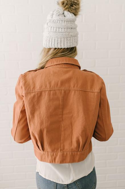 Free People Denim Slouchy Eisenhower Jacket - Terracotta - FINAL SALE