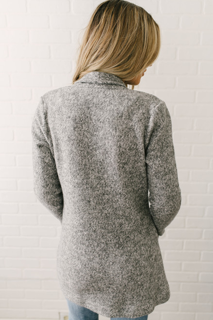 Two Tone Brushed Fleece Jacket - Heather Grey  - FINAL SALE