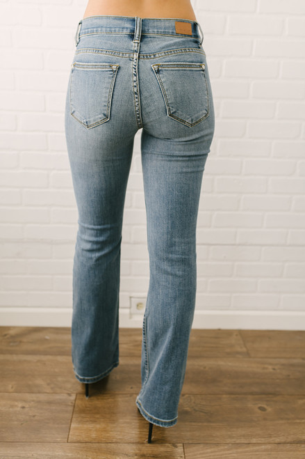 Wild Child Distressed Flare Jeans - Medium Wash - FINAL SALE