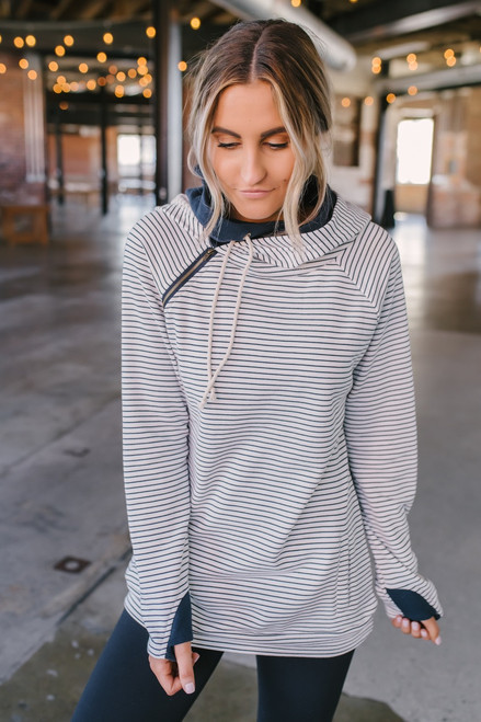a19d71239507 French Terry Striped Double Hooded Sweatshirt - White Navy