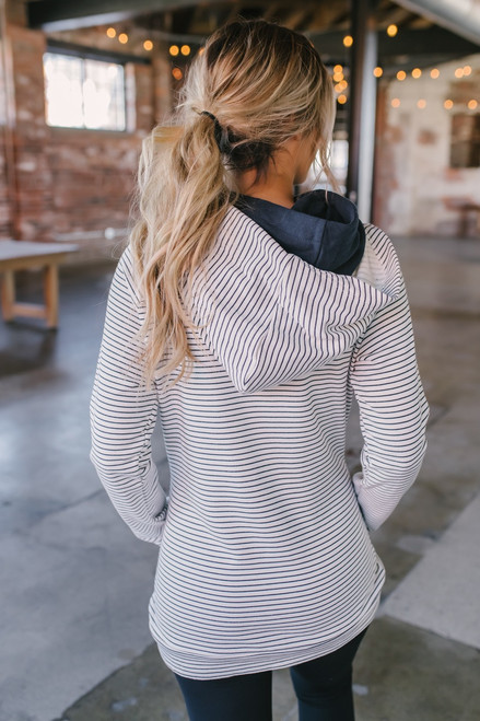 French Terry Striped Double Hooded Sweatshirt - White/Navy