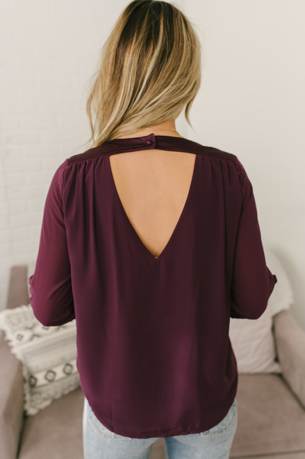 V-Neck Shoulder Detail Surplice Top - Purple - FINAL SALE