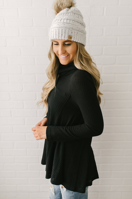 Cowl Neck Thermal Flare Top - Black