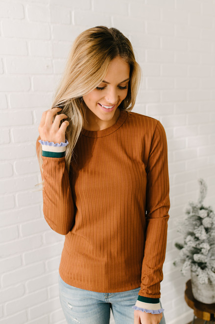 Ruffle Sleeve Ribbed Knit Top - Camel - FINAL SALE