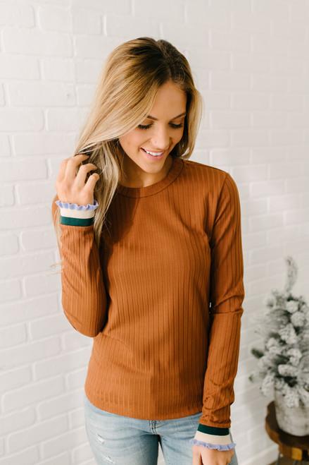 Ruffle Sleeve Ribbed Knit Top - Camel