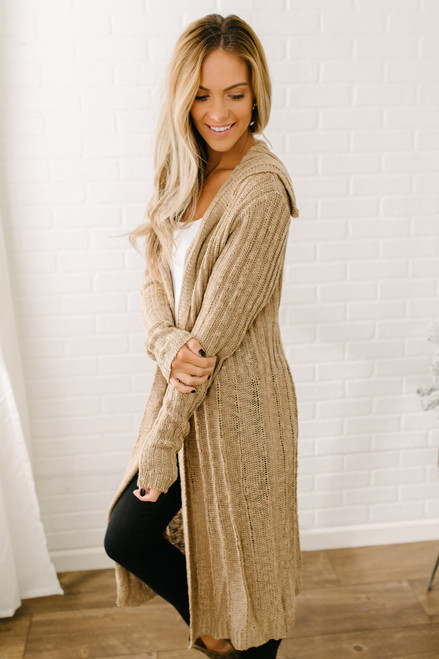 Rosemary Open Knit Hooded Cardigan - Taupe - FINAL SALE