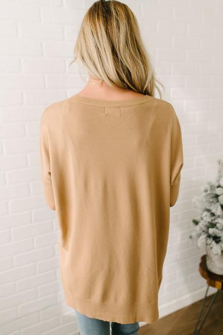 Crewneck Seam Detail Sweater - Tan - FINAL SALE