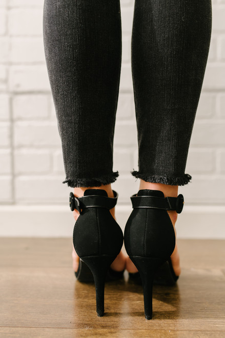 Faux Nubuck Ankle Strap High Heels - Black - FINAL SALE