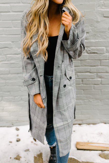 Glen Plaid Tie Waist Jacket - Grey Multi - FINAL SALE