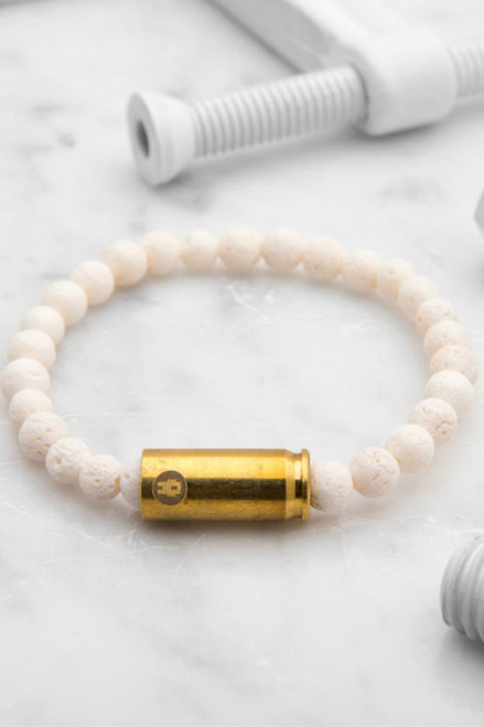 Brass & Unity Mini Warrior Bracelet - White Coral