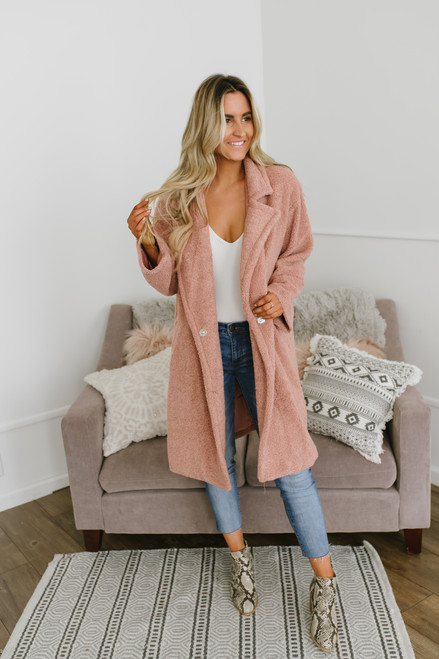 Winter Escape Teddy Bear Coat - Mauve - FINAL SALE
