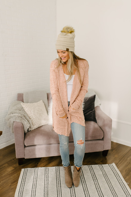 Stay with Me Open Knit Pocket Cardigan - Dusty Pink - FINAL SALE