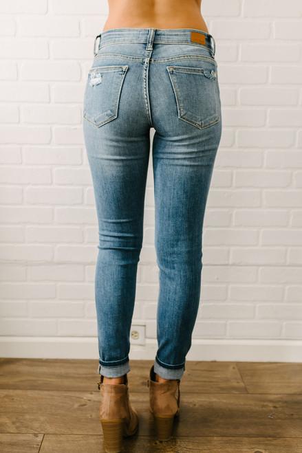 First Class Distressed Skinny Jeans - Medium Wash