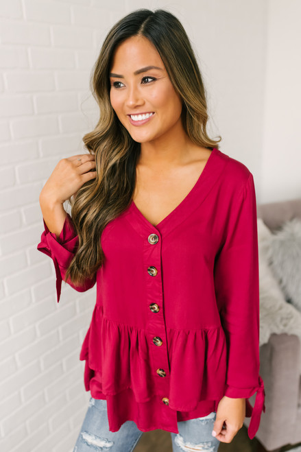 Emberly Button Down Tiered Babydoll Top - Burgundy