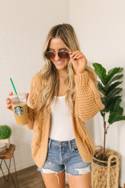 All I Need Cable Cardigan - Amber - FINAL SALE