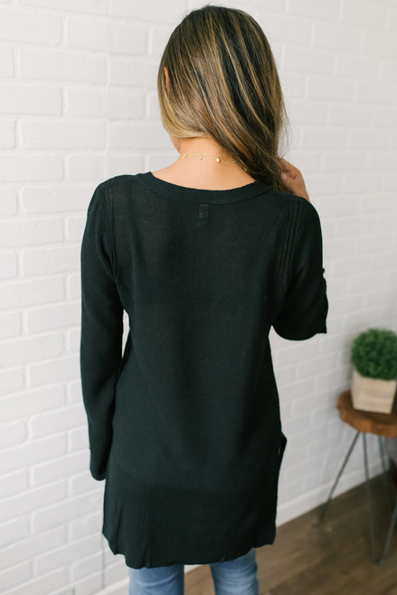 Twice as Nice Cross Front Sweater - Black