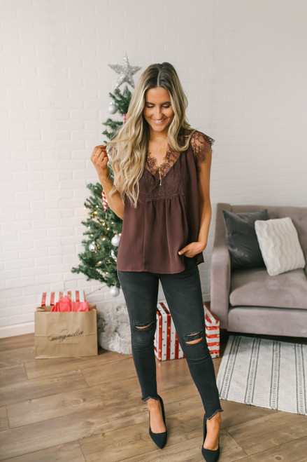 All of Me Lace Detail Top - Espresso