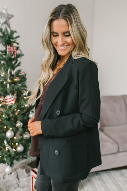 After Hours Double Breasted Blazer - Black - FINAL SALE