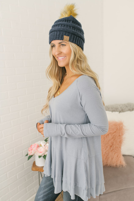 V-Neck Layered Peplum Hem Tunic - Light Blue
